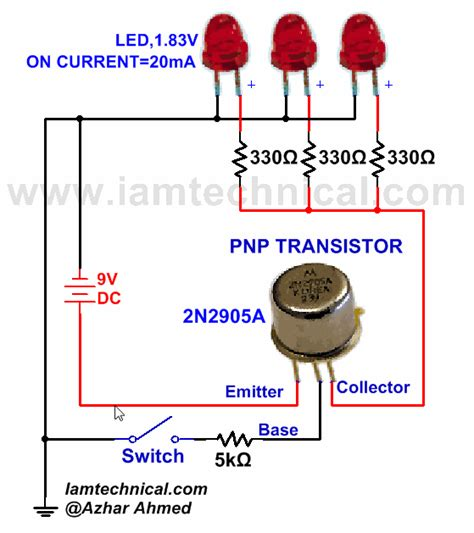 transistor as a high voltage switch pnp transistor with three led s as a switch iamtechnical