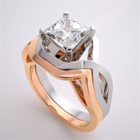 geometric deco style design two tone gold engagement ring