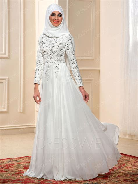 Nnc Dress Muslim Shofiyah Dress charming beading sleeves a line floor length muslim wedding dress 11598013 muslim wedding