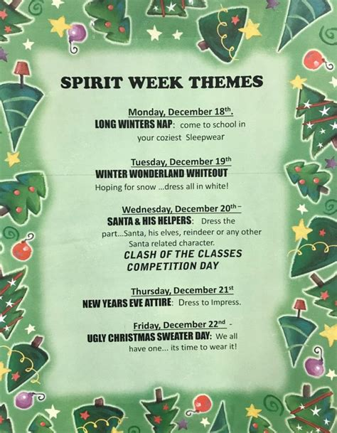 christmas week at school get into the spirit week the slater