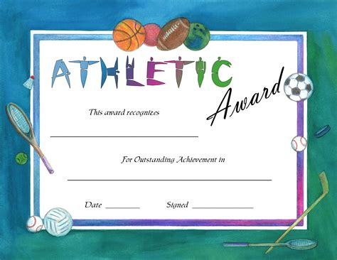 athletic certificate template best professional templates