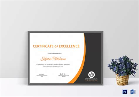 templates for netball certificates netball certificate design template in psd word