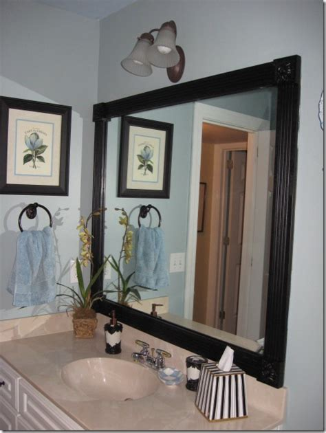 how to frame a bathroom mirror with molding framing those boring mirrors southern hospitality