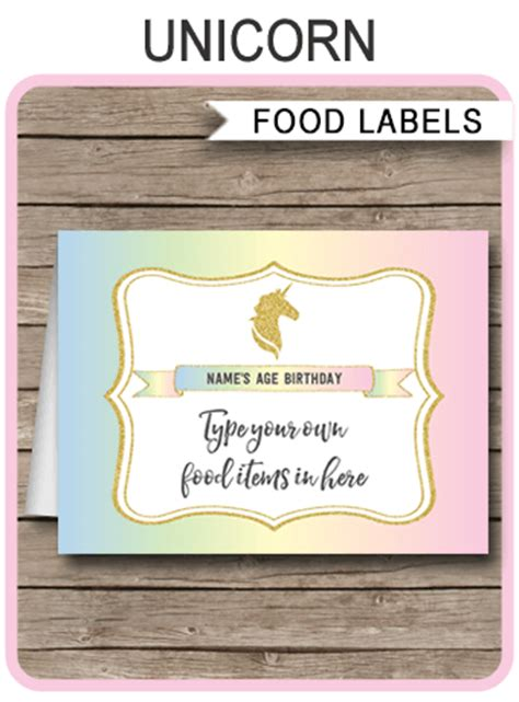 printable unicorn meat label unicorn food labels place cards unicorn birthday party