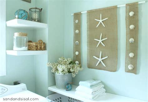 craft ideas for bathroom walls diy wall art coastal burlap craft sand and sisal
