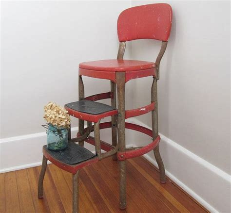 rusty cosco shabby chic kitchen stool red