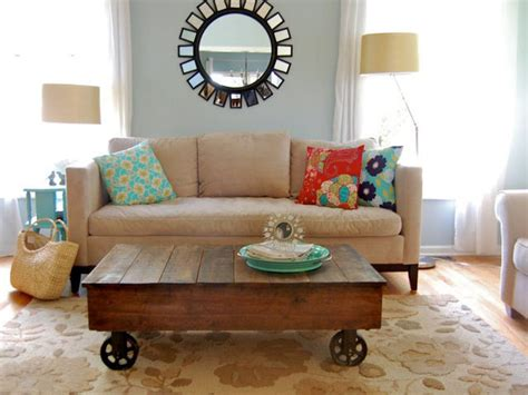 pictures of coffee tables in living rooms build a factory cart coffee table hgtv