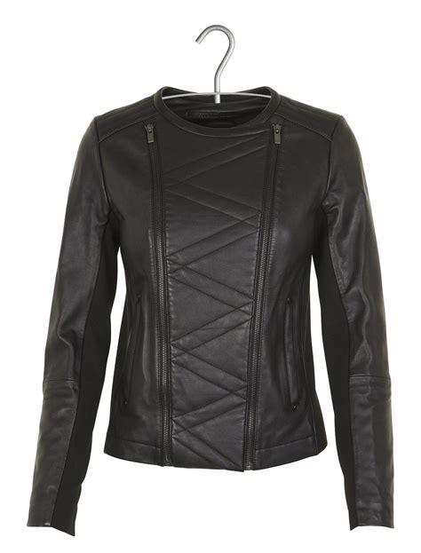 e boutique comptoir des cotonniers e boutique veste zipp 233 e en cuir aravelle noir comptoir des