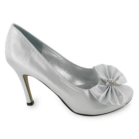 Silver Satin Wedding Shoes by New Silver Satin Peep Toe Wedding Shoes Size 3 8 Ebay