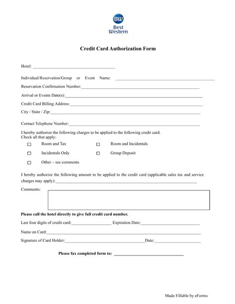 hotel credit card authorization form template free best western hotel credit card authorization form