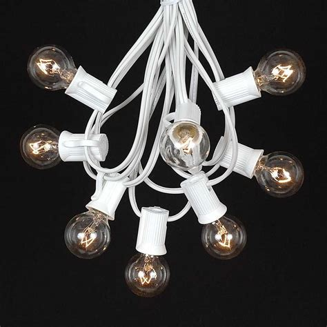 Frosted White G30 Globe Round Outdoor String Light Set On Clear Lights With White Cord