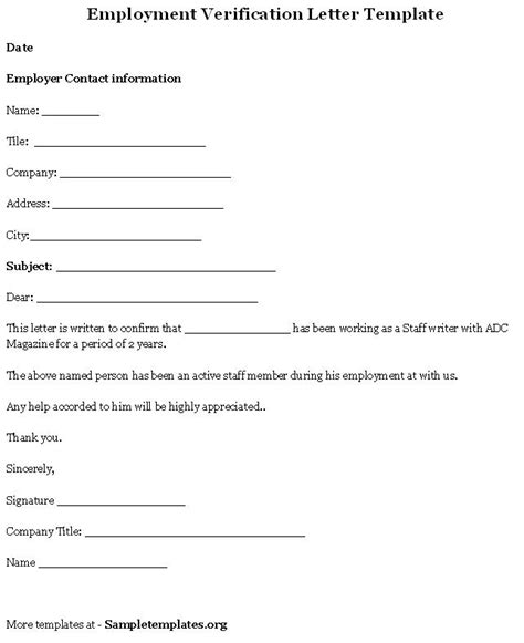 Employment Verification Letter Part Time free printable letter of employment verification form