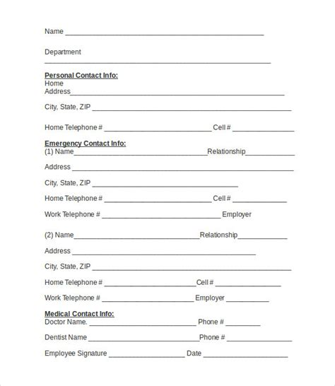 employee contact form employee emergency contact information sheet pictures to