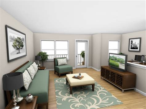 two living rooms in one space one bedroom 3d floor plan net zero