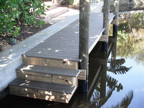 small boat dock  trex composite decking  stainless