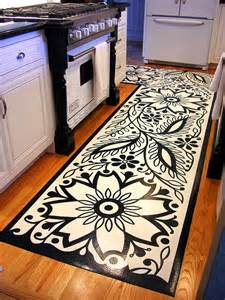 Vinyl Floor Mats For Kitchen Graphic Black And White Kitchen Mat Design