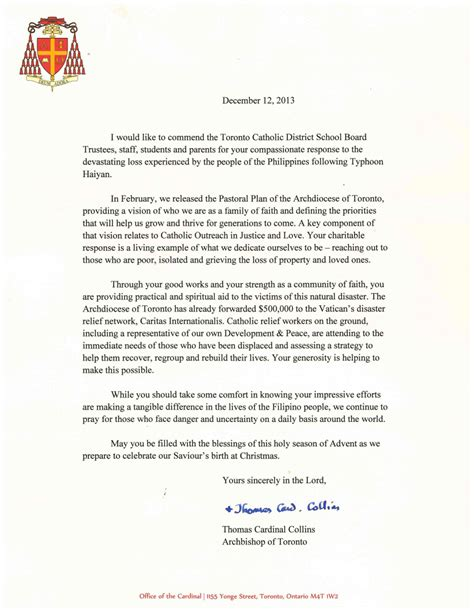 Support Letter For Humanitarian And Compassionate Toronto Catholic District School Board