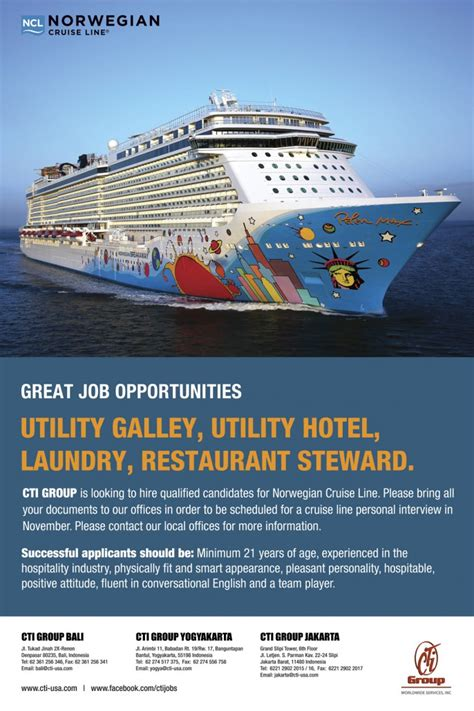 norwegian cruise careers recruiting ads and posters cruise ship jobs shipboard
