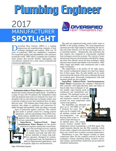 Plumbing Engineer by Plumbing Engineer 2017 Manufacturer Spotlight Water Heaters Dhtdht
