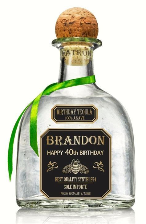 Personalized Gold Tequila Patron Labels 750 ml. by