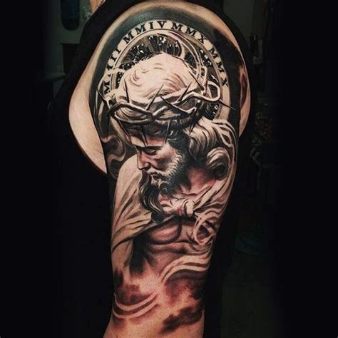 religious tattoos for men half sleeve 100 religious tattoos for sacred design ideas mio
