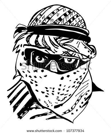 Tshirt Sorban Black traditional arab headdress keffiyeh stock illustration