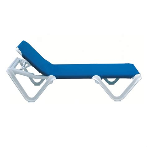 Plastic Chaise Lounge Nautical Plastic Resin Sling Stackable Chaise Lounge