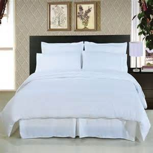White Bedding Sets Snow White 100 Cotton Plain Style Hotel Motel Bedding Set