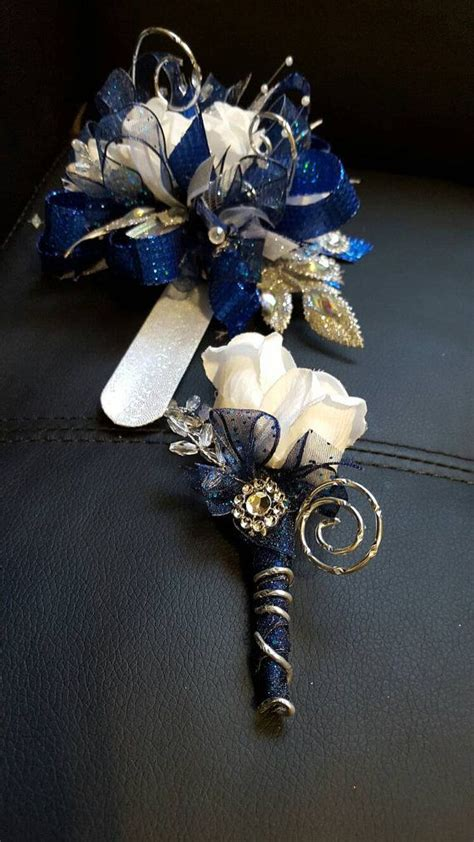 Corsage Blue Silver prom royal blue and silver prom corsage by