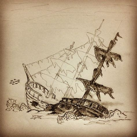 sunken ship tattoo designs progress on this shipwreck sketch by ranz