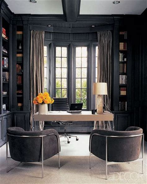 elle decor home office dark gray office monique lhuillier s study as seen in