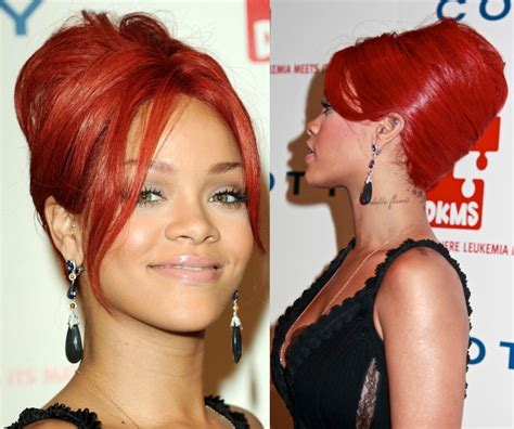 rihanna french twist updo hairstyle with wispy bangs rihanna french twist bun onyc world