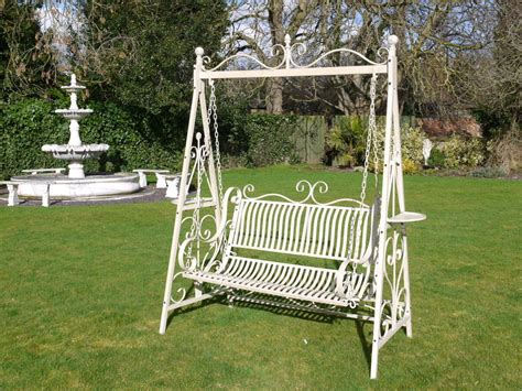 wrought iron swings garden garden swing bench cream ebay