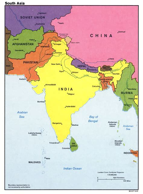 south asia countries map large detailed political map of south asia with major