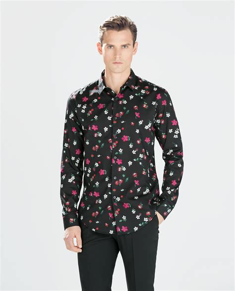 Zara Shirt Flower zara floral print shirt in black for lyst