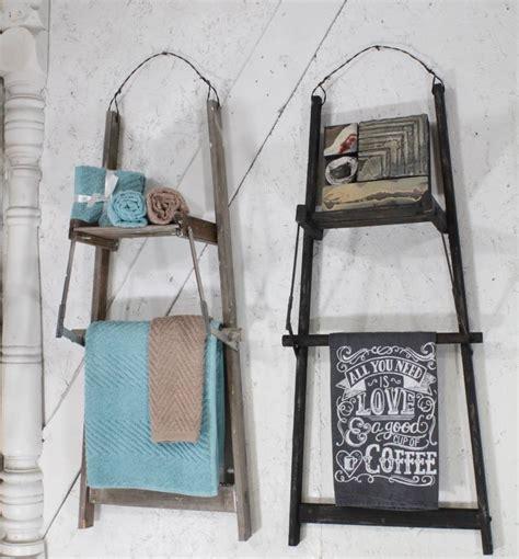 vintage wood ladder towel quilt rack shelf