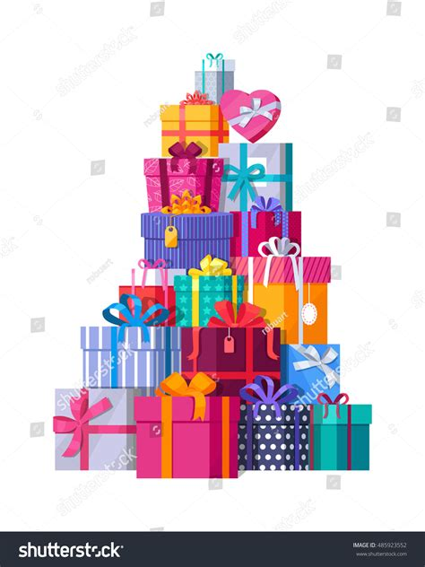 mountain colorful gift boxes on white stock vector