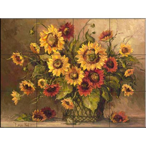 the tile mural store sunflower bouquet 17 in x 12 3 4 in