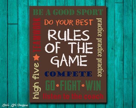 Game Room Rules - sports decor sports nursery boy room decor rules of the game si