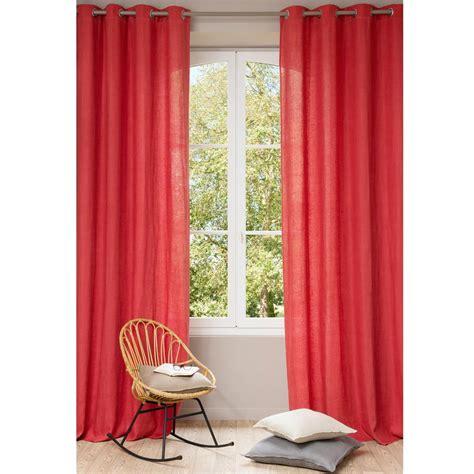 tenda rossa tenda rossa in lino slavato con occhielli 140 x 300 cm