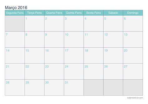 Calendario De Calend 225 Mar 231 O 2016 Para Imprimir Icalend 225 Br