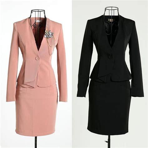2015 women working suits new 2015 autumn and winter formal pink blazer women skirt