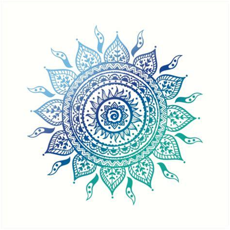 Teal Wall Art Stickers quot blue gradient mandala quot art prints by adjsr redbubble