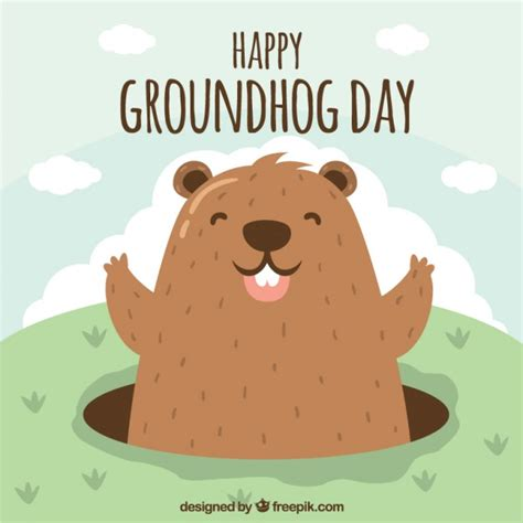 groundhog day vs happy day illustrated happy groundhog vector premium
