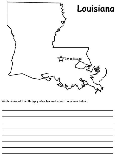 louisiana map coloring page louisiana state map