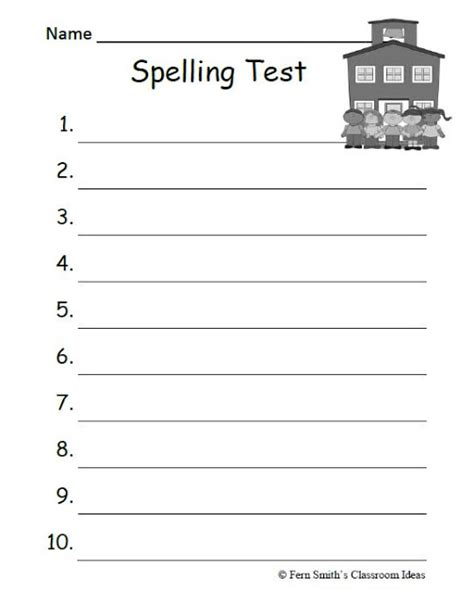 free printable spelling test template fern s freebie friday school themed blank spelling test
