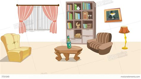 living picture earthquake in cartoon living room stock animation 7731049