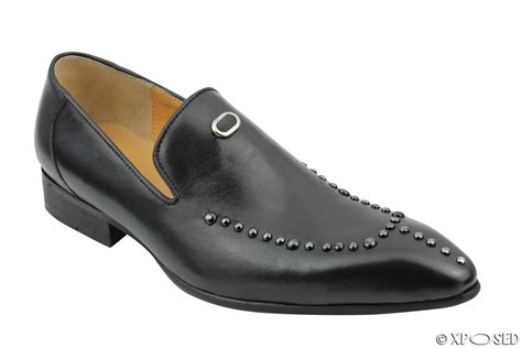Studed Loafer Shoes mens real leather loafers metal studded smart casual dress
