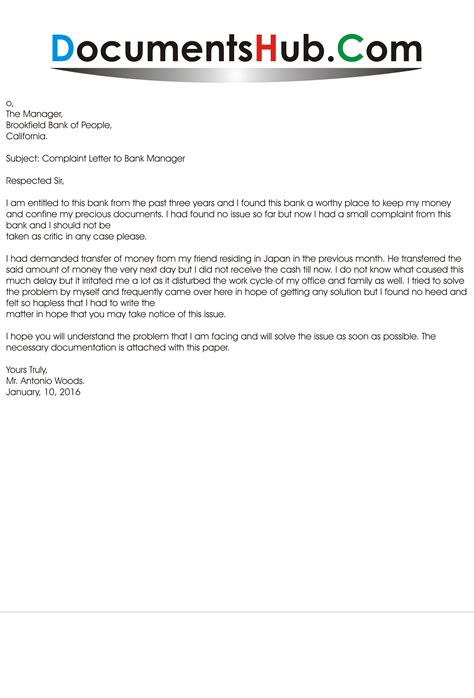 Sample Complaint Letter to Bank Manager   DocumentsHub.Com