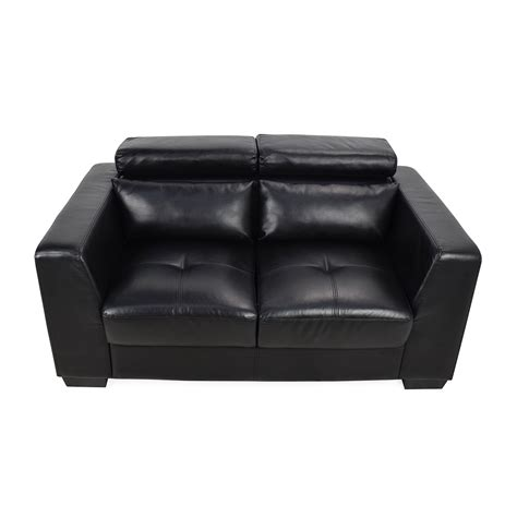 loveseat black leather 68 off black leather reclining 2 seater sofas